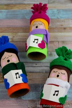 Christmas Carolers Tube Craft · The Inspiration Edit. Christmas Carolers Tube Craft with free template and tutorial. Kids Crafts, Christmas Crafts For Kids To Make, Cute Christmas Gifts, Preschool Christmas, Preschool Crafts, Kids Christmas, Holiday Crafts, Christmas Decorations, Christmas Ornaments