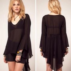 For love & lemons Black bell sleeve and longer back hem tunic from for love & lemons. New without tags. Tag came off and I didn't keep it. Fits true to size    ➳ no offsite sales ➵ good vibes only ࿊ use that offer button For Love and Lemons Tops Tunics