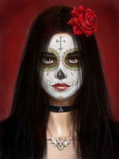 Day of the Dead Sugar Skull Girl Artwork