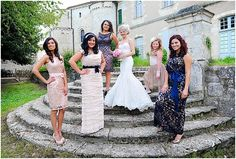mismatched bridesmaids   Image by Glam Flash Photography, read more http://www.frenchweddingstyle.com/wedding-chateau-la-grange-france/