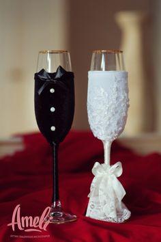 Свадебные бокалы своими руками. Мастер-класс.