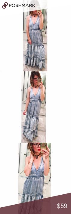 ➡NWT Next Denim Halter Maxi Dress⬅ Love this cotton/tencel light blue denim halter maxi dress with deep v front, smocking on the back and open back with ties behind neck.  Perfect for spring & all summer long! Size on the tag says size 10, which translates to a medium. New with tags. Next Dresses Maxi