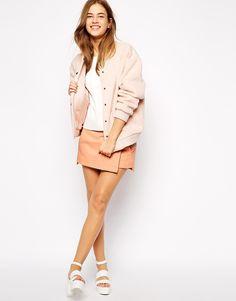 Pink wool teddy fleece bomber jacket by Ganni