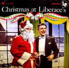 Showmanship, pictured with Kris Kringle, on Liberace 45 rpm record album Christmas at Liberace's. One of them was a guy who dressed in outlandish clothes and endlessly spread good cheer, and the other was Santa Claus. Gay Christmas, Christmas Poems, Christmas Albums, Retro Christmas, Country Christmas, Christmas Stuff, Twas The Night, The Night Before Christmas, Album Covers