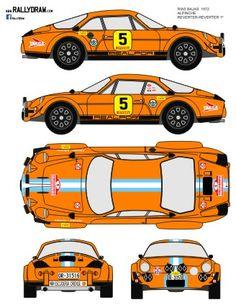 Rallye Rias Bajas 1973 De Seze-Pillet Alpine A-110 4º Paper Model Car, Paper Models, Automobile, Sport Cars, Porsche 911, Vintage Cars, Racing, Minis, Dream Cars