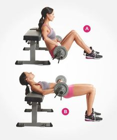 Barbell Hip Thrusters - One of the best exercises for your glutes. This exercise also targets your abs! | Women's Health Magazine #BestAbsExercises