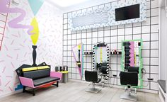 A Hair Salon That Harks Back To The Wackiest Days Of 1980s Design
