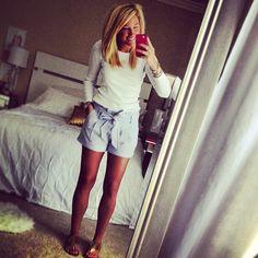 seersucker shorts and basic long sleeve tee