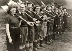 Land girls; they went and worked the farms so productivity would not fall off while the men were away at war; important women in the war effort!!