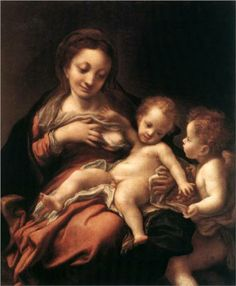 Virgin and Child with an Angel - Correggio, 1524