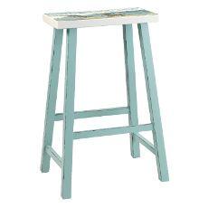 Beach Island Bar Stool Sky Blue With Seat Painting Set of 2
