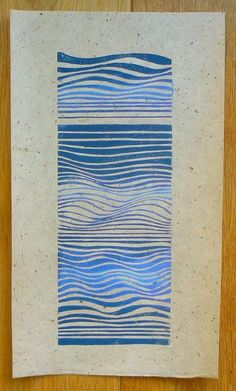 Waves linocut relief print by StripedPebble on Etsy