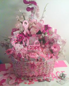 LG Handmade Everything Pink Breast Cancer Gift Basket with 2 FREE GIFTS by cappelloscreations, $75.00@Etsy