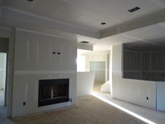 Fireplace before rock