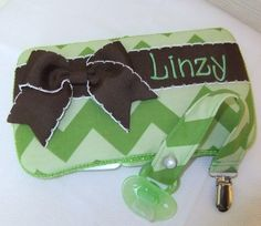 Custom Green Chevron Wipes Case and Paci Clip Set by MsSewItAll32, $18.00