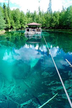 Kitch-iti-kipi, Michigan's largest natural freshwater spring. 40 feet deep and crystal clear.