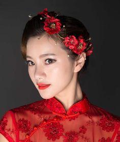 Red+Flower+Wedding+Head+Band