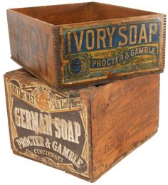 Advertising boxes Proctor Gamble German Soap Ivory Soap wood boxes, paper label on one end, other sides are stenciled, both in VG cond, x x x x