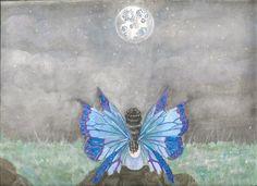 Pintura de una hada contemplando la luna.