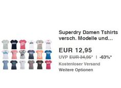 Superdry: Damen-T-Shirts für 10,36 Euro frei Haus dank Gutschein https://www.discountfan.de/artikel/klamotten_&_schuhe/superdry-damen-t-shirts-fuer-10-36-euro-frei-haus-dank-gutschein.php Bei Ebay sind ab sofort T-Shirts von Superdry zum Schnäppchenpreis von 12,95 Euro zu haben. Mit einem Gutschein lässt sich der Preis um weitere 20 Prozent auf nur noch 10,36 Euro drücken. Superdry: Damen-T-Shirts für 10,36 Euro frei Haus dank Gutschein (Bild: Ebay.de) Die T-Shirts von