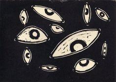 Linocut eyes by thevlanko