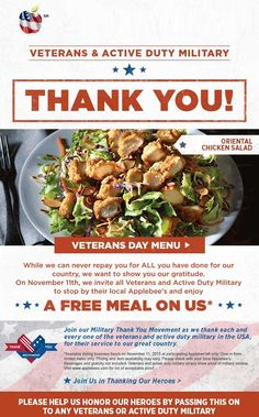 Applebees coupons & Applebees promo code inside The Coupons App. Veterans eat free the at Applebees April Restaurant Marketing, Printable Coupons, Coupon Deals, Chicken Salad, Green Beans, October, Social Media, App, Vegetables