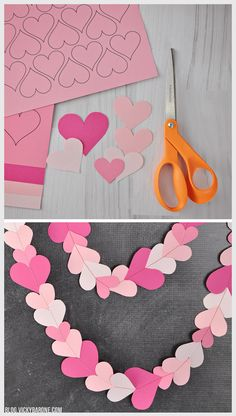 DIY Papierherz Girlande + A frei bedruckbar - Vicky Barone DIY Paper Heart Garland + A Free Printabl Diy Valentine's Day Decorations, Valentines Day Decorations, Valentine Day Crafts, Holiday Crafts, Diy Christmas, Christmas Decorations, Paper Heart Garland, Paper Garlands, Saint Valentin Diy
