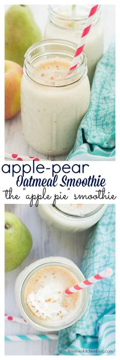 This Apple-Pear Oatmeal Smoothie is a deliciously healthy way to start your day. Cinnamon, nutmeg, and pure vanilla extract bring the flavors of apple pie to this creamy oat smoothie. Smoothie Detox, Apple Pie Smoothie, Oatmeal Smoothies, Breakfast Smoothies, Smoothie Drinks, Healthy Smoothies, Healthy Drinks, Breakfast Recipes, Breakfast Energy