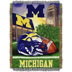 Ncaa 48 inch x 60 inch Tapestry Throw Home Field Advantage Series- Michigan, Multicolor