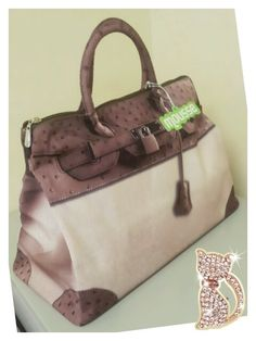 Mousse printed bag - brown Ostrich leather style. Size : L39 x H27 x W18cm Price : US$79 Material: Polyester
