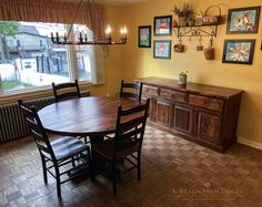custom round farmhouse table (farm table), Shaker ladder back chairs and custom matching sideboard (buffet) - unique handcrafted furnniture for all rooms of the home, using reclaimed barnwood, hardwoods and lived edge slabs. Shop our ONLINE STORE at braunfarmtables.square.site
