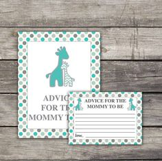 Gray and Teal Giraffe Advice for Mommy to Be Card  Boy Baby