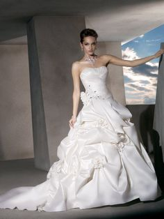 Crystal Beading and Flowers - Taffeta Strapless Ball Gown Wedding Dress