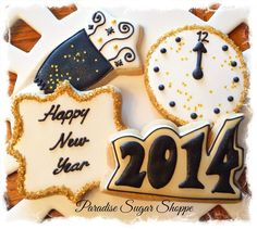 New Year's Eve cookies decorated cookies from Paradise Sugar Shoppe Iced Cookies, Cut Out Cookies, Cookie Desserts, Cupcake Cookies, Sugar Cookies, Cupcakes, Cookie Recipes, Fondant, New Years Cookies