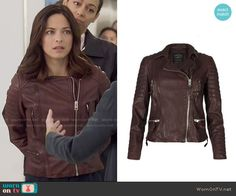 Cat's burgundy leather jacket on Beauty and the Beast.  Outfit Details: https://wornontv.net/22312/ #BATB