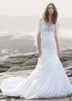 Strapless Sweetheart Fit and Flare Wedding Gown - David's Bridal - WOW