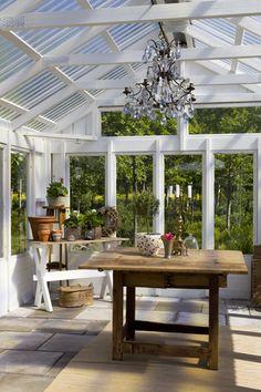 detached sun room in the garden.
