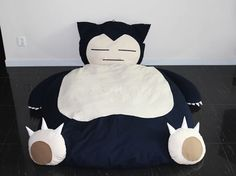 Pokemon Snorlax Bed - Take My Paycheck - Shut up and take my money! Snorlax Pokemon, Kawaii Diy, Chiffon, Arduino Projects, Animal Projects, Cool Beds, How To Make Bed, Home, Geek