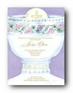 chalice first holy communion invitations   Gorgeous First Holy Communion Invitations for a Girl. Card Dimensions ...