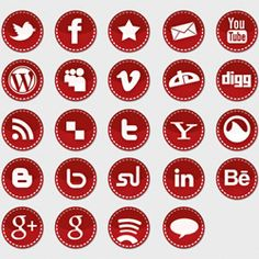 Red stitched social media icons - give a christmas/craft look to your blog or website with this free icon set.