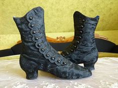 1870 Evening boots Victorian shoes Victorian boots High
