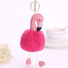 Cute Flamingo Keychain Pink Faux Rabbit Fur Ball Pompon Key Chain Car Bag Ornament for Women Girl Birthday Gifts For Best Friend, Best Friend Gifts, Rose Pompon, Car Key Ring, Gear Best, Cute Keychain, Summer Accessories, Handbag Accessories, Charm Jewelry