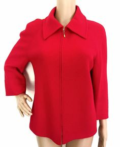 St. John Collection Knit Red Jacket - Size 8 -  EUC #StJohn #Blazer