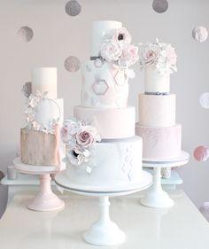Geometric wedding cake by Wish Upon a Cupcake