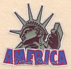 America Statue of Liberty USA Double Applique Machine Embroidery Design