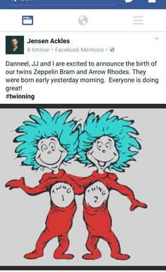 Jensen and Danneel have twins. JJ's new siblings are called Zeppelin Bram & Arrow Rhodes. Congratulations to the Ackles family on the happy occasion! #spn