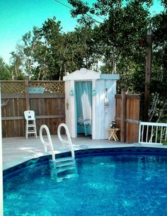 Built in above ground pool with cabana for changing