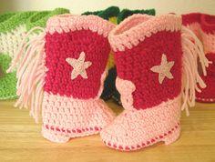 Western Cowboy Baby Booties Boots Crochet Pink by disliltreasures