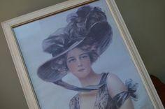 ✿  bluefolkhome  on  etsy  ✿ ✿  $69.90  ✿ Large Framed Print 1970 era Victorian Lady Print Victorian Woman Large Framed Lithograph Coffee Shop Art Bistro Art Cafe Art I Ship Globally