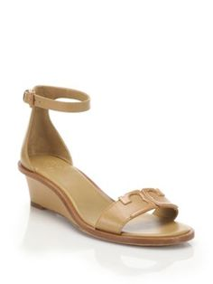 TORY BURCH Marcia Leather Wedge Sandals. #toryburch #shoes #sandals